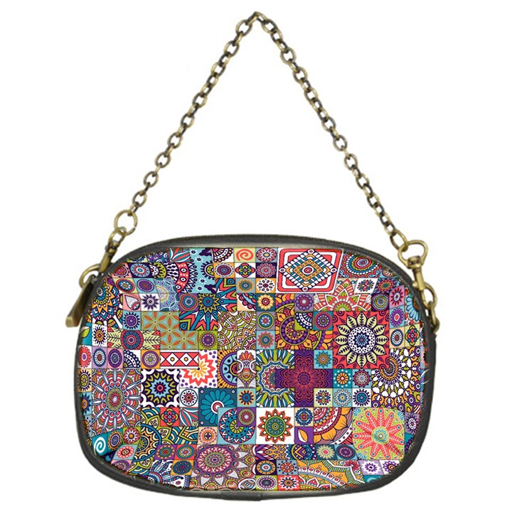 Ornamental Mosaic Background Chain Purses (One Side)