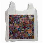 Ornamental Mosaic Background Recycle Bag (Two Side)  Front