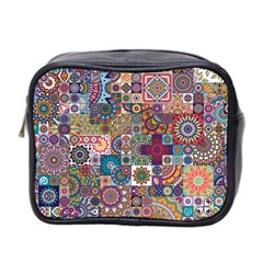 Ornamental Mosaic Background Mini Toiletries Bag 2 Side