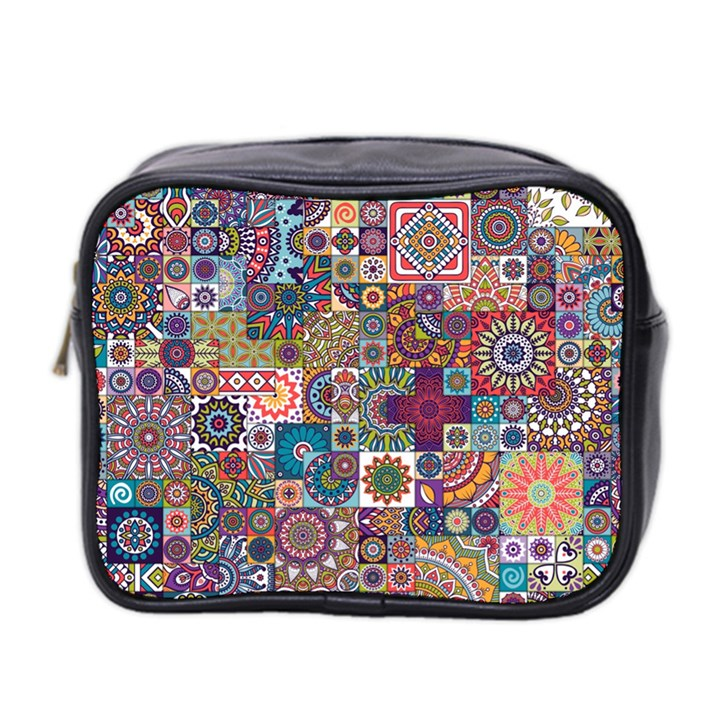 Ornamental Mosaic Background Mini Toiletries Bag 2-Side