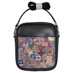 Ornamental Mosaic Background Girls Sling Bags Front