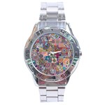 Ornamental Mosaic Background Stainless Steel Analogue Watch Front