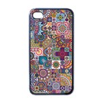 Ornamental Mosaic Background Apple iPhone 4 Case (Black) Front