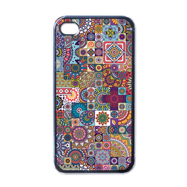 Ornamental Mosaic Background Apple iPhone 4 Case (Black)