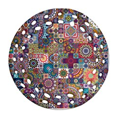 Ornamental Mosaic Background Round Filigree Ornament (2side)