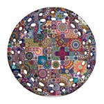 Ornamental Mosaic Background Round Filigree Ornament (2Side) Back