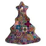 Ornamental Mosaic Background Christmas Tree Ornament (2 Sides) Front