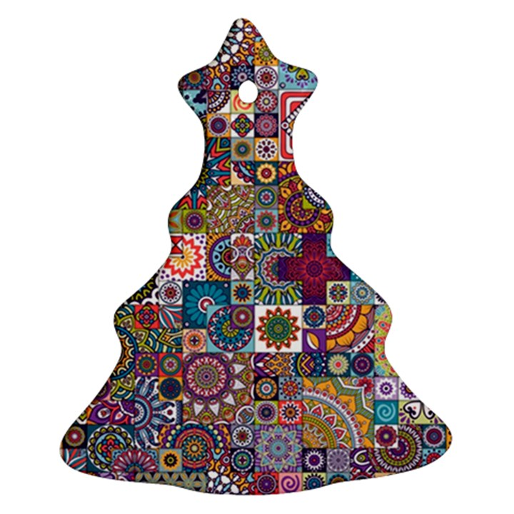 Ornamental Mosaic Background Christmas Tree Ornament (2 Sides)