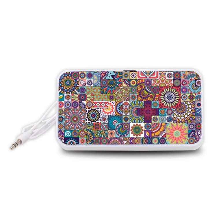 Ornamental Mosaic Background Portable Speaker (White)