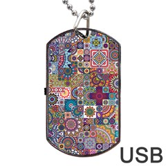 Ornamental Mosaic Background Dog Tag USB Flash (One Side)