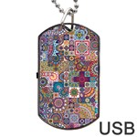 Ornamental Mosaic Background Dog Tag USB Flash (One Side) Front