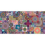 Ornamental Mosaic Background Happy Birthday 3D Greeting Card (8x4) Front