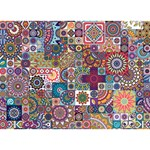 Ornamental Mosaic Background Circle Bottom 3D Greeting Card (7x5) Back