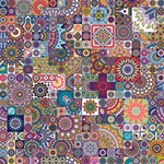 Ornamental Mosaic Background HUGS 3D Greeting Card (8x4) Inside