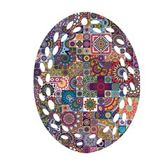 Ornamental Mosaic Background Oval Filigree Ornament (2-Side)