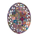 Ornamental Mosaic Background Oval Filigree Ornament (2-Side)  Front