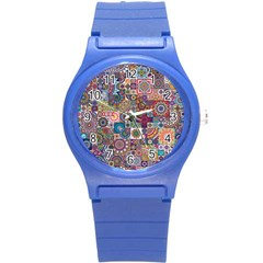 Ornamental Mosaic Background Round Plastic Sport Watch (S)