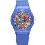 Ornamental Mosaic Background Round Plastic Sport Watch (S) Front