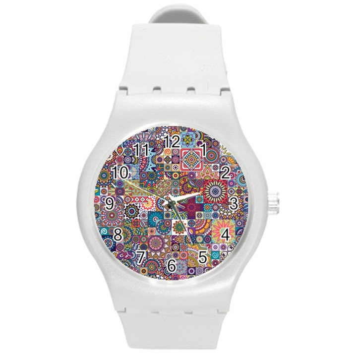 Ornamental Mosaic Background Round Plastic Sport Watch (M)