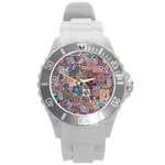 Ornamental Mosaic Background Round Plastic Sport Watch (L) Front