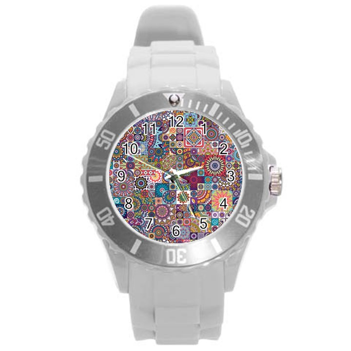 Ornamental Mosaic Background Round Plastic Sport Watch (L)
