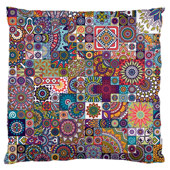Ornamental Mosaic Background Large Cushion Case (One Side)