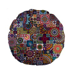 Ornamental Mosaic Background Standard 15  Premium Round Cushions