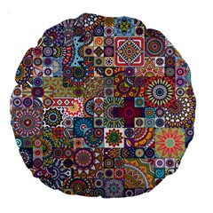 Ornamental Mosaic Background Large 18  Premium Round Cushions