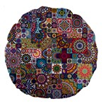 Ornamental Mosaic Background Large 18  Premium Round Cushions Back