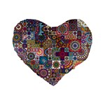 Ornamental Mosaic Background Standard 16  Premium Heart Shape Cushions Front