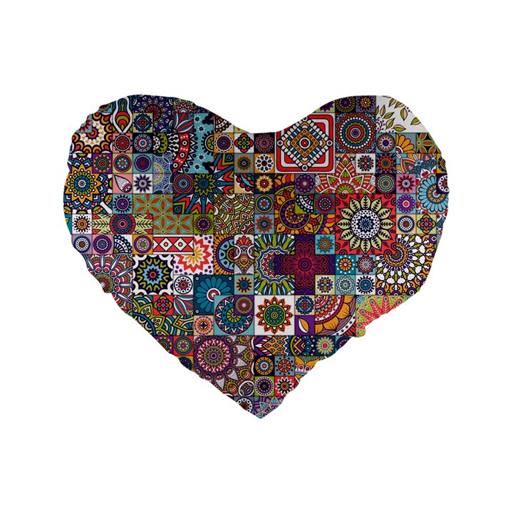 Ornamental Mosaic Background Standard 16  Premium Heart Shape Cushions