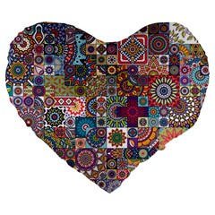 Ornamental Mosaic Background Large 19  Premium Heart Shape Cushions