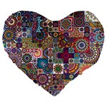 Ornamental Mosaic Background Large 19  Premium Heart Shape Cushions Front