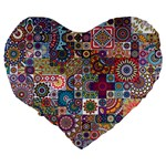 Ornamental Mosaic Background Large 19  Premium Heart Shape Cushions Back