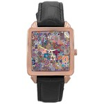 Ornamental Mosaic Background Rose Gold Leather Watch  Front