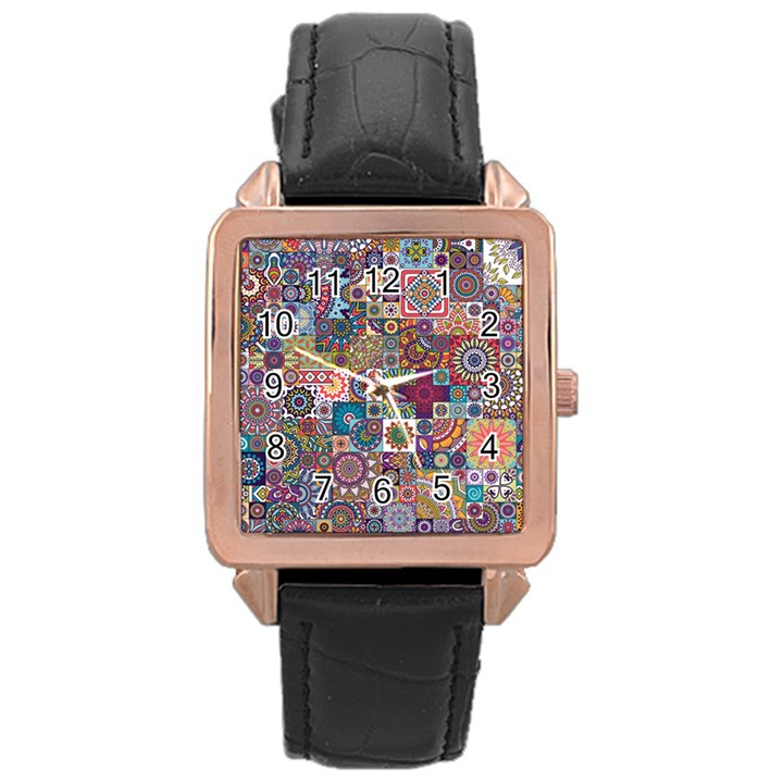 Ornamental Mosaic Background Rose Gold Leather Watch