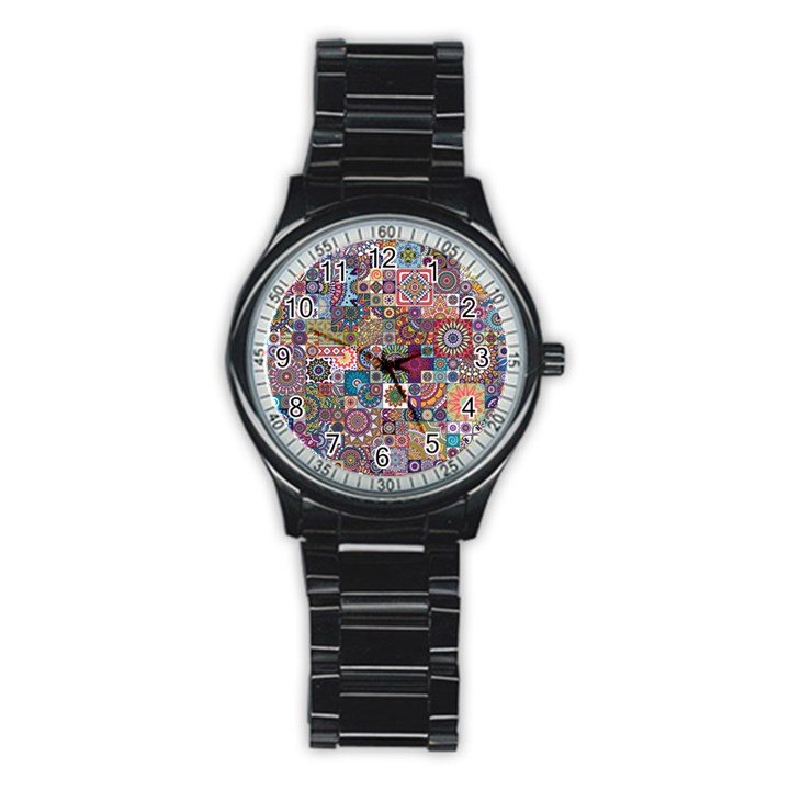 Ornamental Mosaic Background Stainless Steel Round Watch