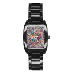 Ornamental Mosaic Background Stainless Steel Barrel Watch