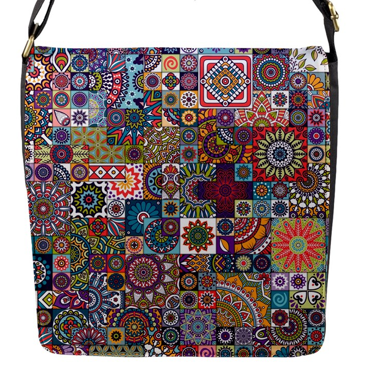 Ornamental Mosaic Background Flap Messenger Bag (S)