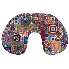 Ornamental Mosaic Background Travel Neck Pillows