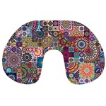 Ornamental Mosaic Background Travel Neck Pillows Front