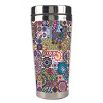 Ornamental Mosaic Background Stainless Steel Travel Tumblers Left