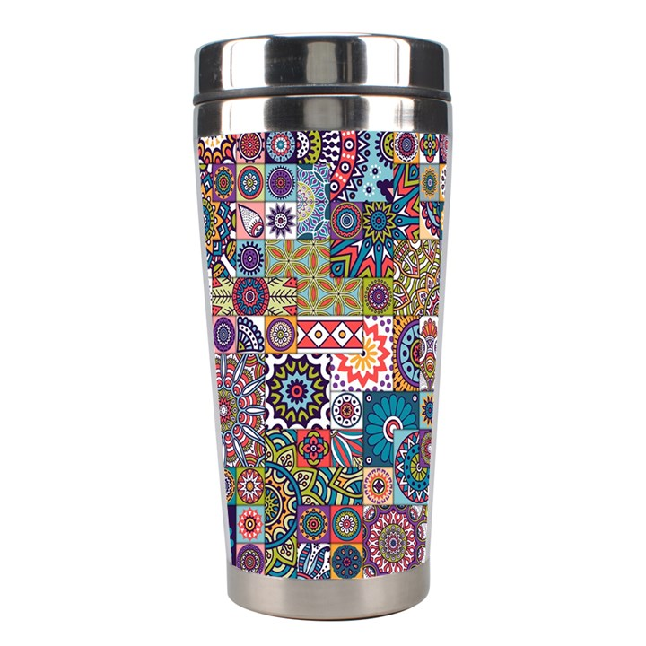 Ornamental Mosaic Background Stainless Steel Travel Tumblers