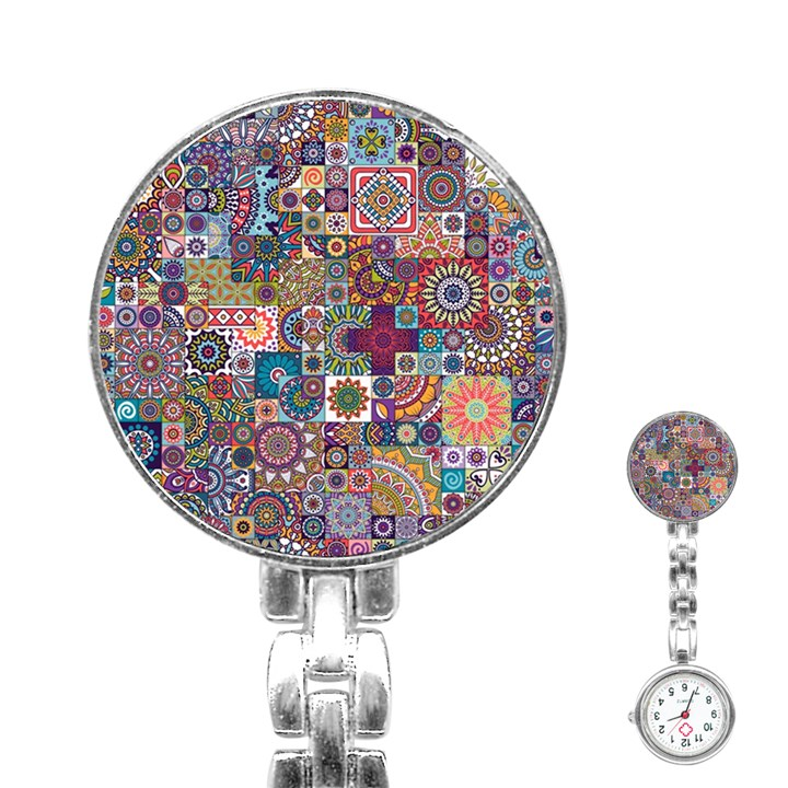 Ornamental Mosaic Background Stainless Steel Nurses Watch