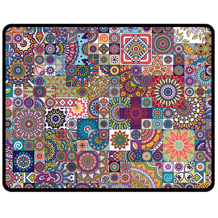 Ornamental Mosaic Background Double Sided Fleece Blanket (Medium)