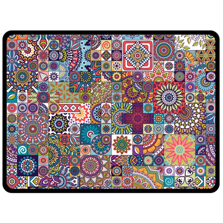 Ornamental Mosaic Background Double Sided Fleece Blanket (Large)