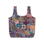 Ornamental Mosaic Background Full Print Recycle Bags (S)  Back