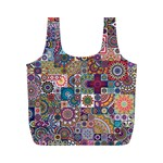 Ornamental Mosaic Background Full Print Recycle Bags (M)  Front