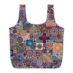 Ornamental Mosaic Background Full Print Recycle Bags (L)  Front