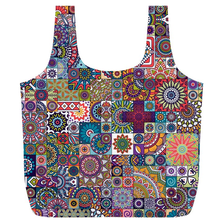 Ornamental Mosaic Background Full Print Recycle Bags (L)